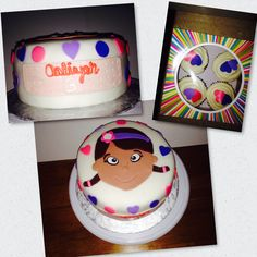 Doc McStuffins birthday cake and cupcakes