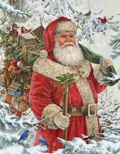 Vintage Christmas Images, Old Fashioned Christmas, Christmas Scenes, Victorian Christmas, Father Christmas, Santa Christmas, Christmas Pictures, Winter Christmas, Santa Pictures