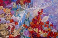 Original Faerytale and folklore Oil Painting, Halloween, fairy tale painting, 36  x 24 x 1.5  inches( 91 x 61x 5 cms)