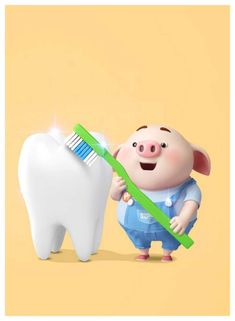 Brush your teeth kids! Happy Birthday Pig, Pig Wallpaper, Cute Tooth, Cute Piglets, Pig Drawing, Pig Illustration, Pig Art, Little Pigs, Guinea Pigs