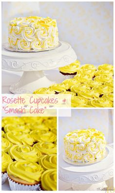 "Rosette Cupcakes and ""Smash Cake"" for First Birthday Party"