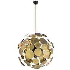 Large circular Modern Gold-Plated Newton Chandelier by Boca Do Lobo from Europe | From a unique collection of antique and modern chandeliers and pendants at https://www.1stdibs.com/furniture/lighting/chandeliers-pendant-lights/