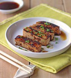Tofu mariné à la sauce soja, miel et gingembre
