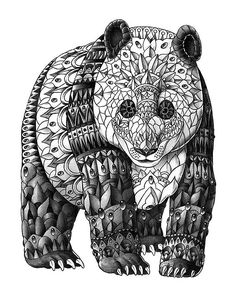 Panda Zentangle Coloring pages colouring adult detailed advanced printable Kleuren voor volwassenen coloriage pour adulte anti-stress kleurplaat voor volwassenen Line Art Black and White