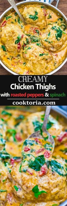 These tender Creamy Chicken Thighs are loaded with flavor! Spinach, roasted peppers, onions, Parmesan, and cream come together to create an absolutely scrumptious sauce. ❤ COOKTORIA.COM #chickenrecipeshealthyparmesan