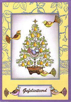grote kaart met perenboom en vogeltjes van Janneke Kijne