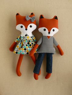 Hey, I found this really awesome Etsy listing at https://www.etsy.com/listing/230408829/two-fabric-doll-foxes-boy-and-girl-fox