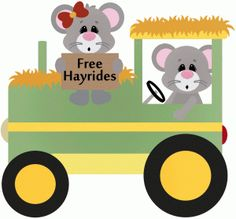 Silhouette Design Store - View Design #48698: free hayrides mouse tractor farm