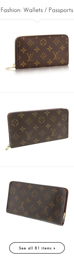 """Fashion: Wallets / Passports"" by katiasitems on Polyvore featuring bags, wallets, brown canvas bag, canvas wallet, brown wallet, monogrammed bags, monogrammed wallet, brown, zip coin purse and louis vuitton wallet"