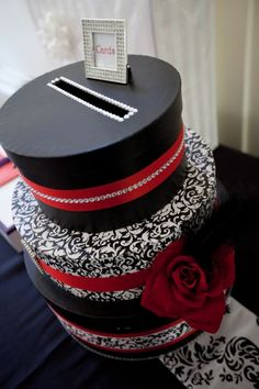 Wedding Card Box wedding black bling damask red wedding card box white C3 THOMSON 163 Chick