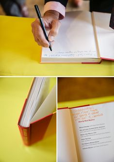 Unique Guest Book Idea // Use a COOK BOOK as a guest book! Then every time you cook you get to read all those love notes // Red Sparrow Photography http://somethingturquoise.com/2014/01/27/fiesta-themed-wedding/