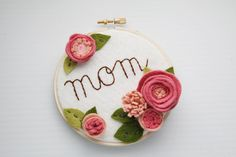 Hoop Art Mother's Day Gift Felt Flowers Wall by CatshyCrafts, $40.00