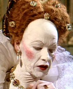 """How Queen Elizabeth I would have styled herself for court appearances when she was in her 60's. IMAGE: The Makeup Gallery / BBC'S """"Elizabeth R"""" miniseries, starring Glenda Jackson."""