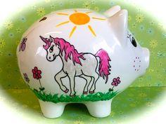 Geldgeschenke - Sparschwein XL Nr. 129 Einhorn - ein Designerstück von MM-Bastelparadies bei DaWanda Piggy Bank, Etsy, Unicorn, Wrapping Gifts, Wedding, Crafting, Money Box, Money Bank, Savings Jar