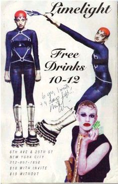Limelight poster from the 90s... Signed by the infamous Michael Alig