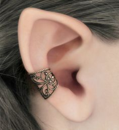 Soft Whispers  Brass Filigree Ear Cuff by RavynEdge on Etsy, $15.00