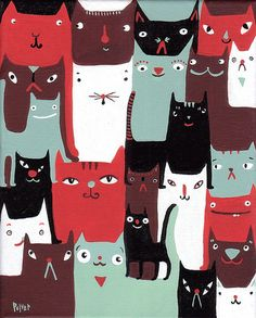 24 cats by sarapulver, via Flickr.  (Love that they come in all sorts of shapes, sizes and colors.  Just like people:-))