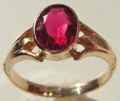 #Antique #9ct #GoldRing Chester #1919 2.4g Size O, £95obo by @watchesnrings -  Pretty Antique 9ct Gold Red Stone Solitaire Ring for Sale   Please take a look at my rings and watches collection  The ring size is O and weighs 2.4 grams   Hallmarks for Chester and date this ring to 1919
