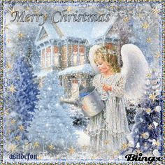 GIPHY is how you search, share, discover, and create GIFs. Christmas Night, Christmas Scenes, Christmas Art, Beautiful Christmas, Christmas Blessings, Christmas Wishes, Christmas Angels, Vintage Christmas Images, Christmas Pictures