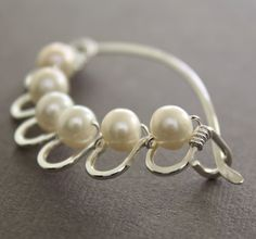 Handmade sterling silver shawl pin, scarf pin in laced flower with wrapped round white fresh water pearls