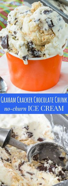 Graham Cracker Chocolate Chunk No-Churn Ice Cream - if you like Bruster's Graham Central Station Ice Cream, you'll love this four-ingredient easy copycat recipe for a sweet dessert treat! Ice Cream Party, Ice Cream Treats, Ice Cream Desserts, Frozen Desserts, Ice Cream Recipes, Sweet Desserts, Frozen Treats, Delicious Desserts, Dessert Recipes
