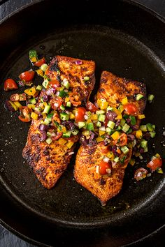 Diet Recipes Pan Seared Salmon, for When the Simplest Things Just Make You Happy - A mildly spicy salmon fillet seared to a succulent, golden-brown perfection, topped with a mediterranean salsa fresca—the perfect pan seared salmon! Salmon Recipes, Fish Recipes, Seafood Recipes, Easy Mediterranean Diet Recipes, Mediterranean Dishes, Clean Eating, Healthy Eating, Healthy Dinner Recipes, Cooking Recipes
