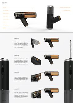 Normal home users frequently use motor drills. For typical motor drills, it is difficult and somehow dangerous for users to change drill bits, and at professional working sites, workers usually carry many drills attaching various bits on them rather than& Id Design, Tool Design, Design Process, Project Presentation, Presentation Layout, Portfolio Layout, Portfolio Design, Medical Design, Home Gadgets