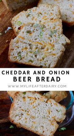 Make this quick and delicious dairy-free beer bread recipe in under an hour! This easy to make bread is packed with delicious flavor and perfect for pairing with soup, chili, or eating as a snack. Made with plant-based butter and dairy-free cheddar cheese this delicious beer bread is a must bake recipe! #bread #dairyfree