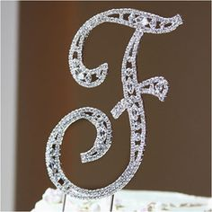 WeddingDepot.com ~ Wedding Cake Topper - Crystal Letter Vintage - Large ~ These premium-quality cake topper letters are designed and manufactured with the ultimate care and precision.  Each letter incorporates a series and combination of Swarovski crystals for a sparkling and dazzling appearance.