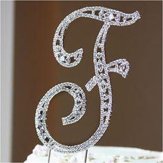 Wedding Cake Topper - Crystal Letter Vintage - Large