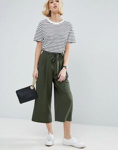 ASOS Khaki Tailored Culotte with Tie Waist