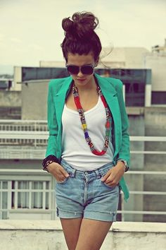 turquoise blazer, top knot/messy bun, high waisted shorts?