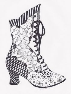 Zentangle, Victorian Boot, steampunk,