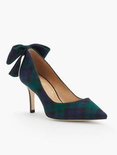 Erica Bow-Back Pumps in Flannel by Talbots. The pretty back bow adds a festive touch with an understated plaid for fun sophistication.  #talbotsmustgiftguidecontest