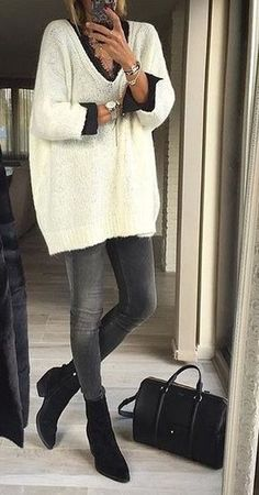 #thanksgiving #fashion White Knit // Black Booties // Skinny Jeans