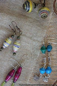 paper beads.  Bead making tutorial + inspiration on ways to use the beads