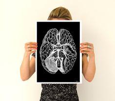 Cerveau humain imprime noir affiche art poster-anatomie par PRRINT