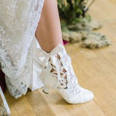 'Lizzie Elliot' Victorian Ivory Lace Up Boots by House of Elliot - Ankle Length With A Low Heel And Vintage Inspired Design. Lace Ankle Boots, Shoe Boots, Colored Wedding Dress, Victorian Boots, Vintage Lace Weddings, Wedding Boots, Wedding Lace, Bride Shoes, High Heels Stilettos