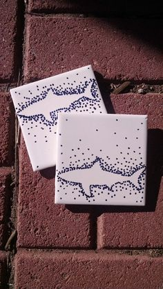 Shark Silhouette 4x4 Tile Coaster by CoasterinOnADream on Etsy