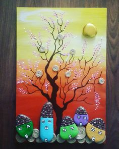 Pebble Painting, Pebble Art, Stone Painting, Painting On Wood, Stone Crafts, Rock Crafts, Diy And Crafts, Arts And Crafts, Creative Crafts