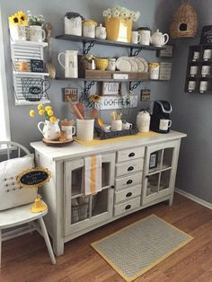 Love the bee skep in the back! Coffee Nook, Coffee Bar Home, Home Coffee Stations, Coffee Bar Ideas, Coffee Corner Kitchen, Coffee House Decor, Beverage Stations, Coffee Mug Display, Coffee Mugs