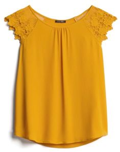 Gradient Color Ladder Cutout Sleeve T-Shirt Kurta Designs, Blouse Designs, Edgy Outfits, Fashion Outfits, Office Dresses For Women, Sewing Blouses, Frocks For Girls, Gowns With Sleeves, Yellow Fashion