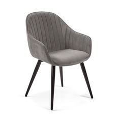 Kave Home Herbert Armstoel Chaise Velour, Grey Velvet Chair, Buy Chair, Foot Rest, Home Living Room, Contemporary Design, Upholstery, Furniture Design, Dining Chairs