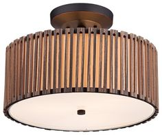 """Arts and Crafts - Mission Grayson Wood Panel 15"""" Wide Bronze Ceiling Light traditional-ceiling-lighting"""