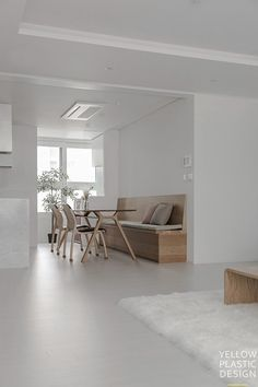 도란도란 가족중심 하우스[반포레미안 퍼스티지 44평형 인테리어 / 옐로플라스틱 /yellowplastic / 옐로우플라스틱] : 네이버 블로그 Kitchen Room Design, Home Room Design, Kitchen Interior, House Design, Retail Interior Design, Interior Decorating, Muji Haus, Grey Laminate Flooring, Home Furniture
