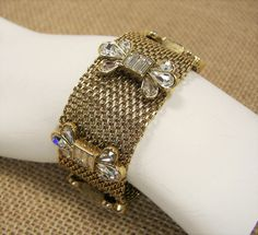 Fossil Mesh Glitz Glass Crystal Gold Tone Wide Bracelet Magnetic Clasp MSRP $68...Only $54.99 with free shipping! #Fossil #Statement