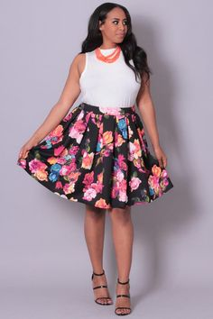 Plus Size Printed Knit Floral Skirt - Black