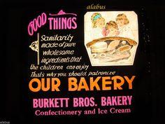 Lot of 10 Magic Lantern Advertising Slides for BURKETT BROS BAKERY & ICE CREAM