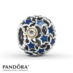 Blue enamel stars and a cubic zirconia moon set in 14K yellow gold depict the night sky in this sterling silver charm from the Pandora Holiday 2014 collection. Style # 791371CZ