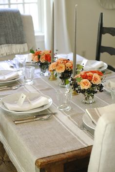 Jenny Steffens Hobick: Fall-ish Table Setting | DIY Coral & Peach Roses with Privet Berries | Provence Beige Linens